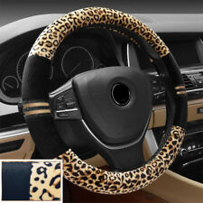 Leopard Print Plush Car Steering Wheel Cover Keep Warm for Car SUV (Beige+Black)