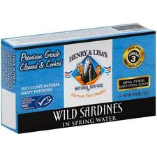 Henry & Lisa Natural Seafood-Wild Sardines In Spring Water (12-4.25 oz cans)