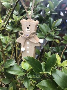 5 X Bear Wooden Christmas Hanging Decorations