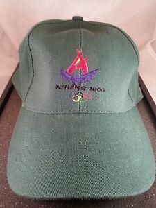 2004 Athens Greece Olympic Hat Cap Green with logo adjustable slide back