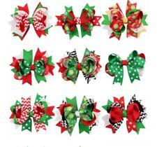 9 Pcs Girl Christmas Holiday Gift Snowflake Ribbon Hair Bows Clip Girl Hairpin