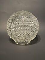 """Vtg MCM HR 6.5"""" Inverted Diamond Glass Globe 3 1/8"""" Fitter Swag Light Shade"""