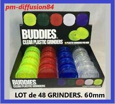 LOT 48 GRINDERS ACRYLIQUE. Tabac / Epices. 3  Parties - 60mm. 4 Coloris. BUDDIES
