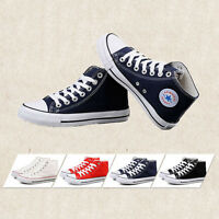Mens Hi High Top Lace Up Flat Canvas Pumps New Trainers Plimsolls Sports Shoes