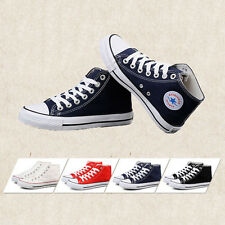Ladies Womens Hi High Top Lace Up Flat Canvas Pumps New Trainers Plimsolls Shoes