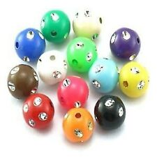 25g 10mm Metal Enlaced Acrylic Plastic Round Beads - Mixed - A5387
