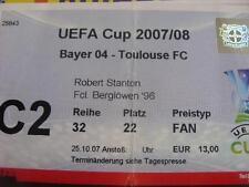 25/10/2007 Ticket: Bayer Leverkusen v Toulouse [UEFA Cup] (Corner Torn On Entry,