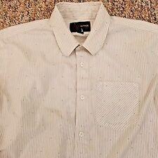 Hurley Shirt Men's Size Medium White Striped Cotton Long Sleeve