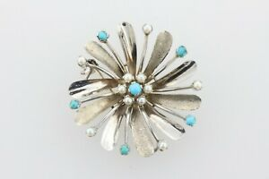 Vintage 18K White Gold Textured Flower Mini Pearl & Turquoise Brooch Pin Pendant