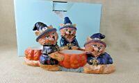 PartyLite Abracadandle Tealight Trio, P7345  EUC Halloween Witch Cats, Pumpkins