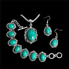 Antique Tibetan Silver Oval Turquoise Necklace+Bracelet+Earrings Jewelry Set