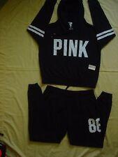 NWT New Victoria's Secret Pink Sweat Shirt Hoodie Top Collegiate Pants Set M L