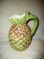 MAJOLICA PINEAPPLE PITCHER ITALIAN POTTERY VINTAGE MARKED NUMBERED MID CENTURY