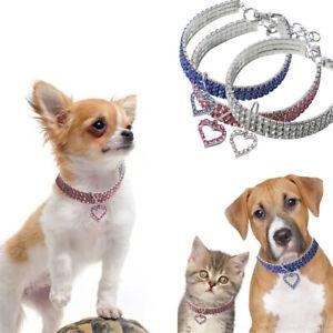 Dog Collar Rhinestone Bling Necklace Diamante Heart Pendant Pet Puppy Cat UK