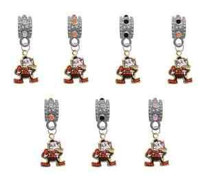 Cleveland Browns RETRO Football European Rhinestone Charm Bracelet Necklace Bead