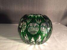"Bohemian Czech Emerald Glass Cut To Clear Rose Bowl, Mint Condition, 4.25"" X 5"""