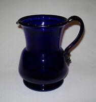 Antique Vtg Early 20th C 1910s Blown Cobalt Blue Glass Pitcher Applied Handle