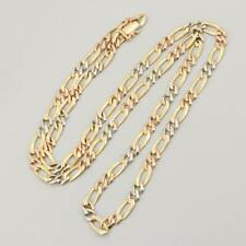 18K Yellow, White and Rose Gold Figaro Chain Necklace...25.7 grams... men/women