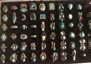 NATIVE AMERICA RINGS & ETC -TURQUOISE CORAL MOP 10K GOLD - $5 TO $105 YOU PICK -