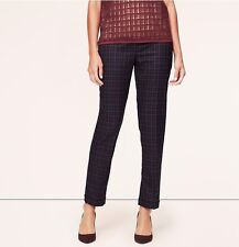NWT Ann Taylor Loft Plaid Cuffed Ankle Pants in Julie Fit 0 Petite Twilight Navy