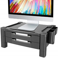 Monitor Stand Riser with Dual Storage Drawers - Adjustable Computer Screen Riser