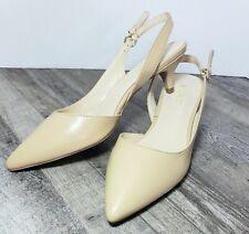 Nine West Womens Laria Nude Beige Slingback Shoes Low Heel Sandal Sz 9 US 7.5 UK