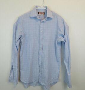 Thomas Pink Sz 14.5-33 Plaid Blue Pink French Cuff Button Down Mens Shirt