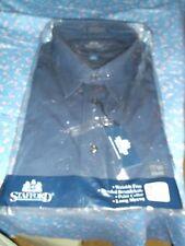 Nos Mens Vintage Shirt Stafford Dark Blue 17 1/2 32/33 Long Sleeve Point Colla