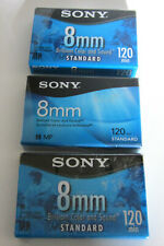 3 Sony 8mm Tape Model P6-120Mpl 120 min New Sealed Discontinued