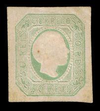 GENUINE PORTUGAL SCOTT #7 MINT 1855 GREEN STRAIGHT HAIR SCV $500 - ESTATE SALE