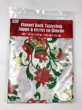 Christmas House Flannel Back Holiday Tablecloth 52x52 NEW