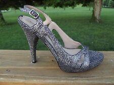 Via Spiga Sz 6 Adrianna 2 Silver Glitter Sparkle Heels Platform Sandals PRISTINE
