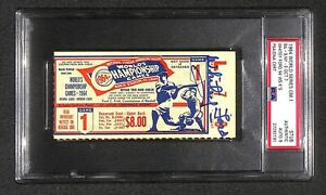 """1964 WORLD SERIES Game 1 Ticket WHITEY FORD Signed PSA 9   """"WS Record 94 K's"""""""