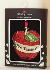 Harvey Lewis Best Teacher 2013 Christmas Ornament with Swarovski Crystals NEW!