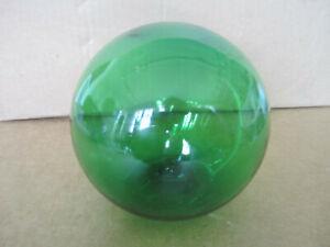 """Green blown glass float ball from Vietnam - 1960s - 4 1/2"""" diameter"""