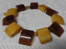 VINTAGE BAKELITE DISK NECKLACE YELLOW & BROWN DISKS