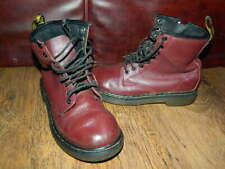 girls Dr Martens burgundy/wine leather high top lace up boots uk 1 eur 33