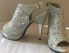 Formal Women Glitterry Bootie Peeptoe Wedding Prom Platform Stilleto Gem Shoes 6