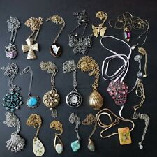 23pc QUALITY Vintage Necklace Pendant Lot Turquoise Pearl Cross Owl Shell MM6