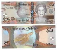 CAYMAN ISLANDS $25 Dollars UNC Banknote (2010) P-41a Queen Elizabeth D/1 Prefix