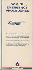 Delta Airlines DC 8-51 Safety Card