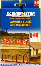 NEW HO Walthers SceneMaster #949-4172 Canadian Flags and Mailboxes Kit