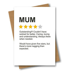 Funny Birthday Card for Mum - Product Star Rating Review