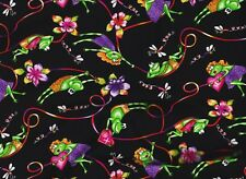 BTY Hysterical FROGS in LOVE on Black Print 100% Cotton Quilt Craft Fabric Yard