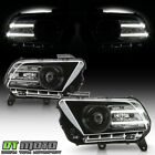 2010-2014 Ford Mustang Black Halogen Projector Headlights w/LED DRL Tube LH+RH  for sale