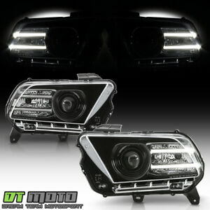 2010-2014 Ford Mustang Black Halogen Projector Headlights w/LED DRL Tube LH+RH
