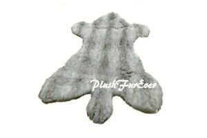 "48"" x 72"" Cute Fox Silver Gray Wolf Fur Area Rug 4' x 6' Home Decor Rug"
