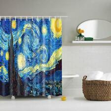 Waterproof Shower Curtain 12 Hooks Starry Night Print Bathroom Polyester