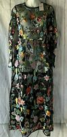 AA&ZZ Women's Size S Floral Embroidered Black Net Mesh Lace Cover Maxi Dress