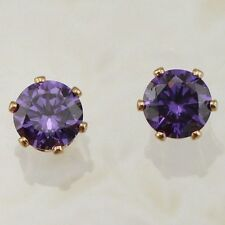 New Yellow Gold Filled 6 Prong Set Round 7mm Amethyst Purple CZ Stud Earrings
